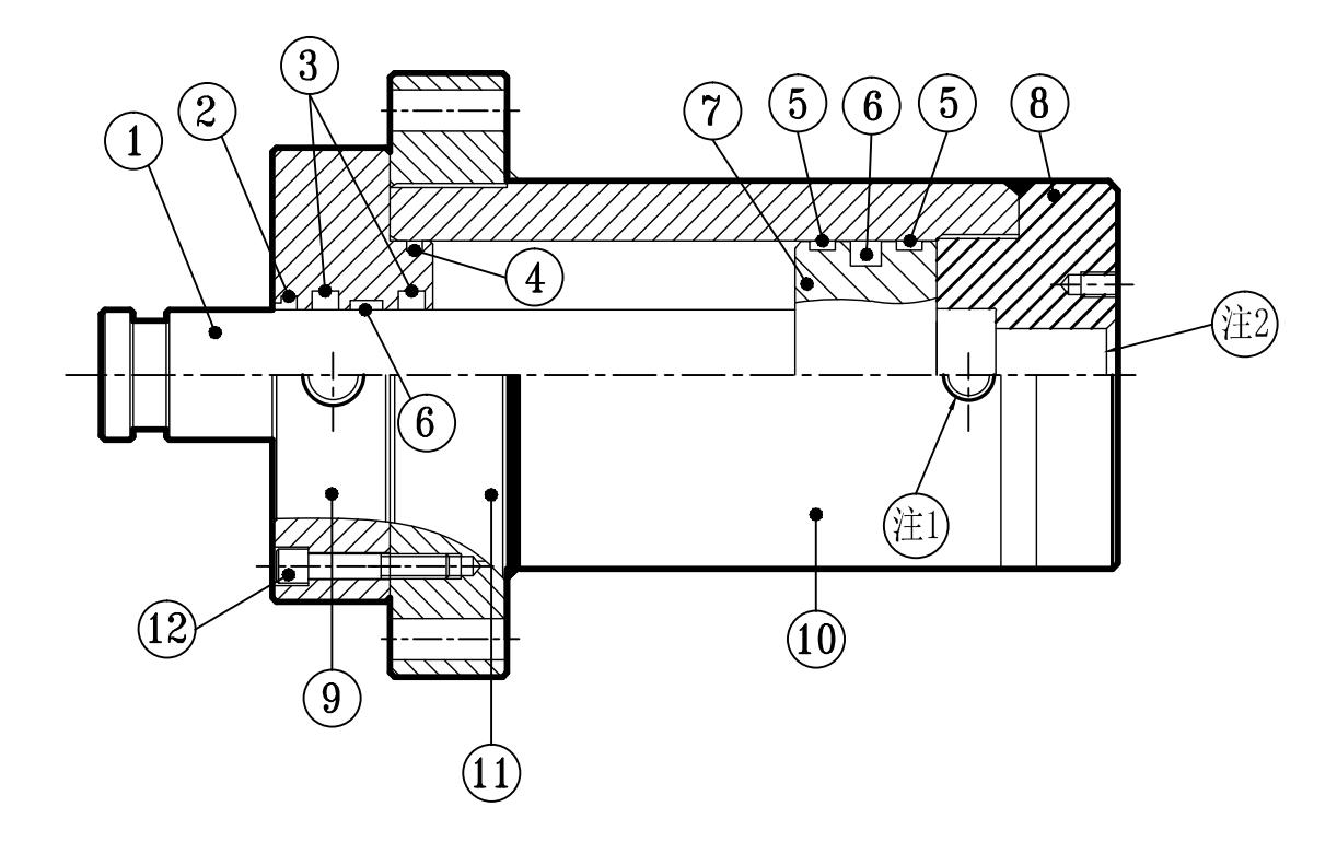 大型高压圆型油压缸结构图 inside structure and parts list图片